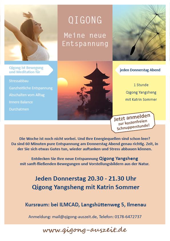 Plakat Qigongkurs Entspannung mit Katrin Sommer Donnerstag 20.30 Uhr